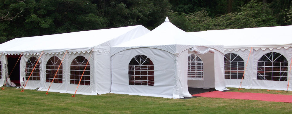 Marquees for sale banner - pagoda marquee with two 6x12m marquees